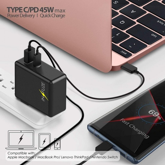 USB C Wall Charger INFUZE Premium 45W 2-Port Desktop Charger one 45W Power withe One Port QC 3.0  by beyondcell
