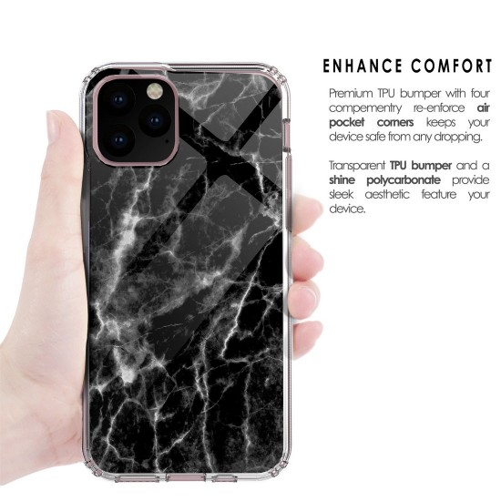cover AquaFlex Suitable For Apple iPhone 11 Black Marble Print by beyondcell