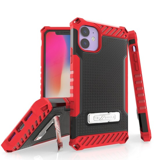 Tri Shield Suitable For Apple iPhone 11 Black & Red TPU by beyondcell