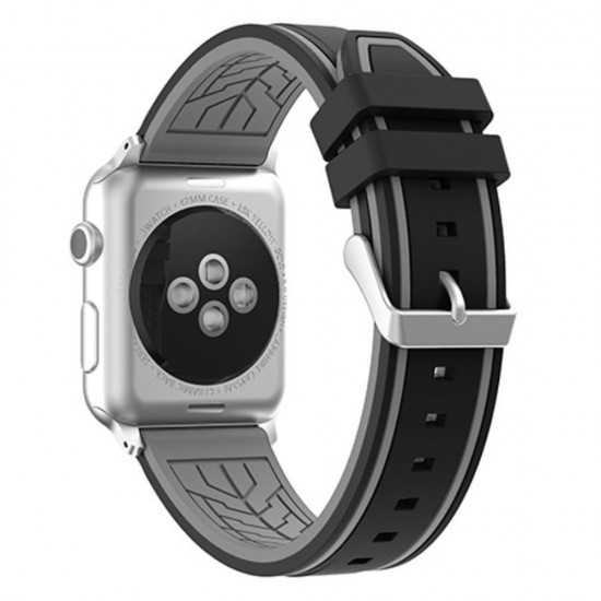 APPLE Band 42mm soft silicon gray withe black