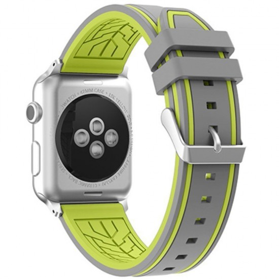 APPLE Band 42mm soft silicon gray withe yelow
