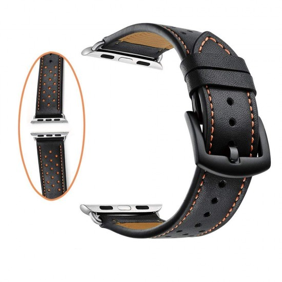 Apple Watch strap band  Vogue Leather Band Black with Orange Dot 42mm by jinya