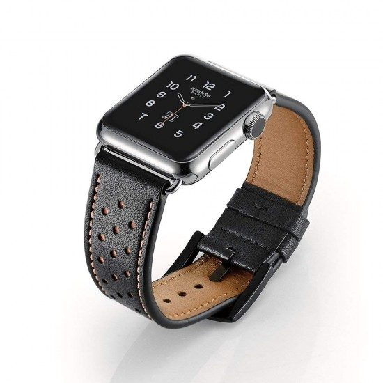 5590c63ee Apple Watch strap band Vogue Leather Band Black with Brown Dot 42mm by jinya