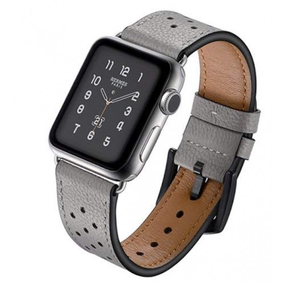 cac4e379f Apple Watch strap band Vogue Leather Band gray with Black Dot 42mm by jinya