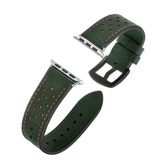 Apple Watch strap band  Vogue Leather Band green with orange Dot 42mm by jinya