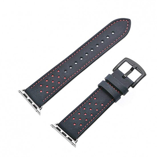 Apple Watch strap band  Vogue Leather Band blue with orange Dot 42mm by jinya