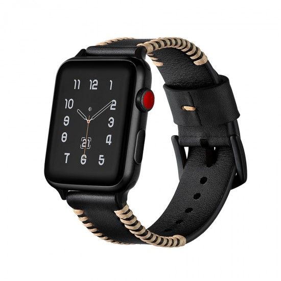 Apple Watch strap band  Style Leather Band Black 38mm  or 40mm by jinya