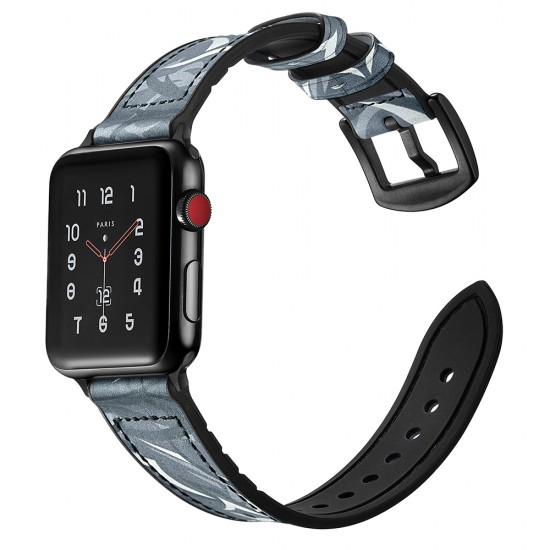 Apple Watch Camouflage strap band Style Leather black 42 & 44 mm by jinya