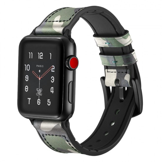 Apple Watch Camouflage strap band Style Leather green 42 & 44 mm by jinya