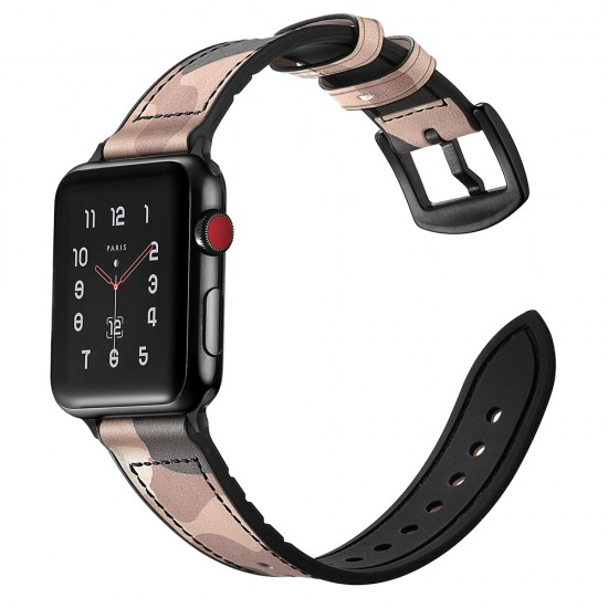 Apple Watch Camouflage strap band Style Leather pink 42 & 44 mm by jinya