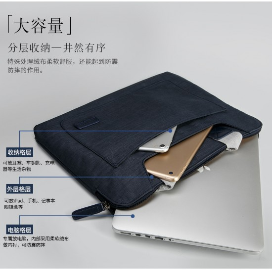 bag for macbook Waterproof canvas below 14inch Dark Blue - jisoncase