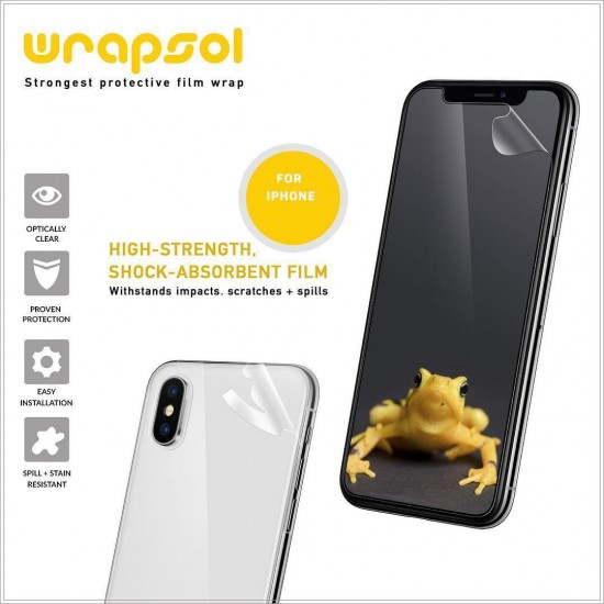 screen protector for iphone X S R full body clear by wrapsol